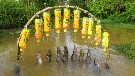 Flaschenangeln auf Wels in Kambodscha 9
